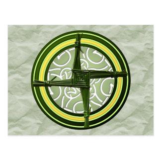 Postal La cruz de Brigid verde en verde