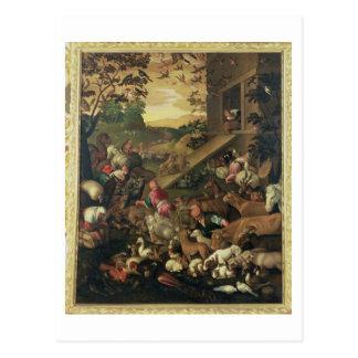 Postal La entrada de los animales en la arca