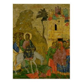 Postal La entrada en Jerusalén, icono ruso