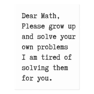 Postal La estimada matemáticas soluciona sus propios