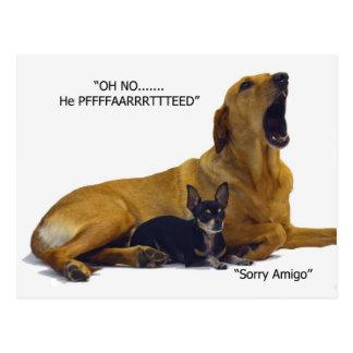 Postal La etiqueta es culpar el perro