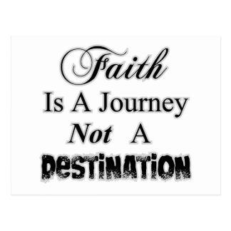 Postal La fe es un viaje, no cristiano del destino