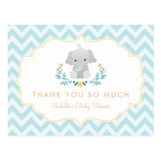 Postal La fiesta de bienvenida al bebé linda del elefante