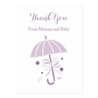 Postal La fiesta de bienvenida al bebé púrpura linda del