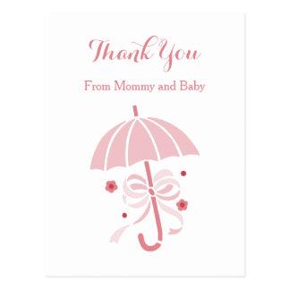 Postal La fiesta de bienvenida al bebé rosada linda del