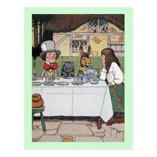 Postal La fiesta del té del sombrerero enojado