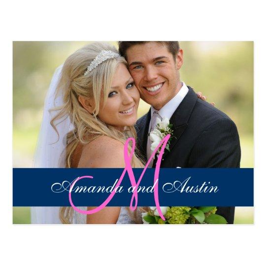 Postal La foto azul del boda del damasco le agradece