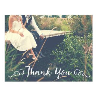 Postal La foto cursiva manuscrita del boda le agradece