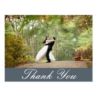 Postal La foto de encargo horizontal del boda le agradece