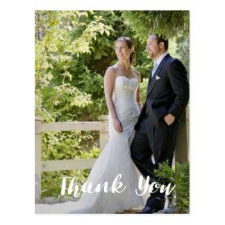 Postal La foto de moda del boda le agradece vertical