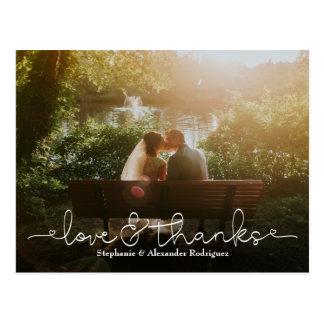 Postal La foto del boda del corazón del amor y de las