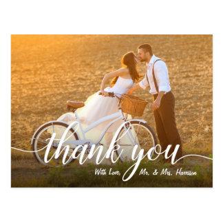 Postal La foto romántica del boda le agradece