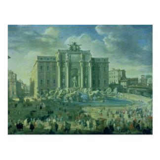 Postal La fuente del Trevi en Roma, 1753-56