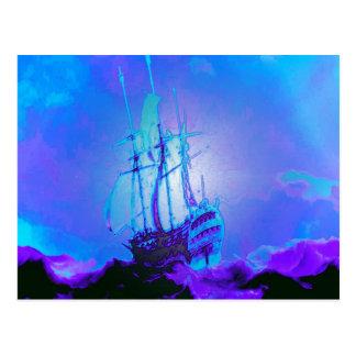 Postal La honradez, verdad, integridad, honor, nave,