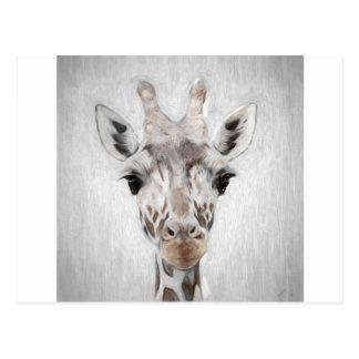 Postal La jirafa majestuosa retrató de muchos productos