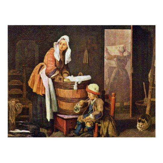 Postal La lavandera, por Chardin Jean-Baptiste Siméon