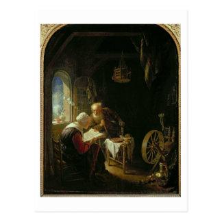 Postal La lección de la biblia, o Anne y Tobias (aceite