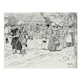 Postal La llegada de las mujeres jovenes en Jamestown