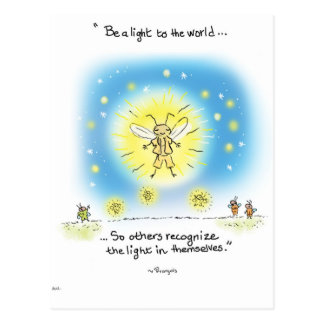 "Postal La luciérnaga de la yogui ""sea una luz al mundo """