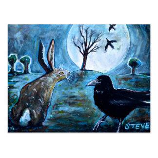 Postal La luna, las liebres y el cuervo