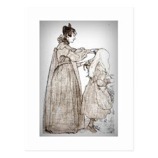 Postal La madre cepilla el pelo de su hija