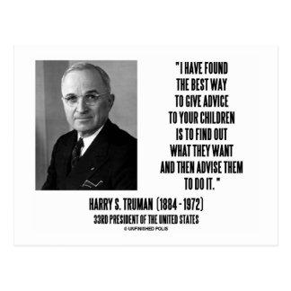 Postal La mejor manera de Harry Truman da consejo a sus