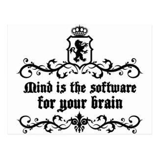 Postal La mente es software de A para su cita medieval