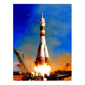 Postal La mosca al cohete del éxito saca viaje espacial