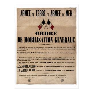 Postal La movilización en Francia el 1 de agosto de 1914