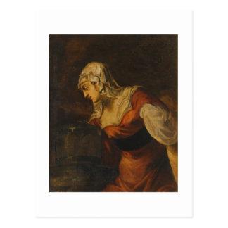 Postal La mujer de Samaria en bien, c.1560 (aceite en c