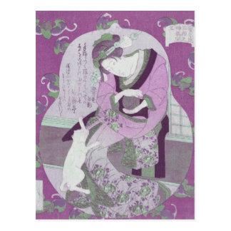 Postal La mujer y el gato japoneses rosados/remezclan de