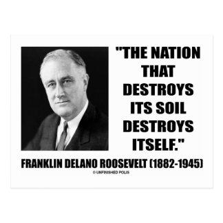 Postal La nación de Franklin Delano Roosevelt destruye su