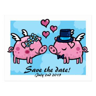 Postal La novia y el novio del cerdo del vuelo ahorran la