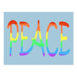 Postal La palabra de la paz del arco iris colorea las