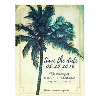 Postal La palmera tropical Key West de la playa ahorra la