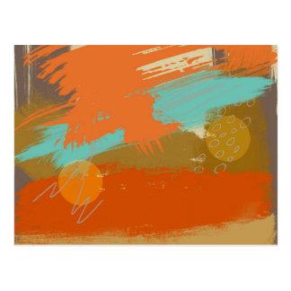 Postal La pintura abstracta del arte del paisaje circunda