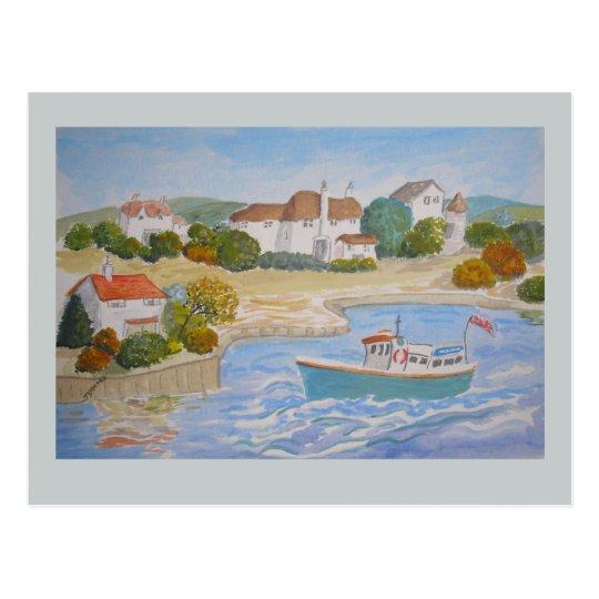 Postal La pintura feliz del puerto, arte popular añade el