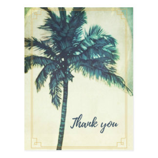 Postal La playa de la palmera del vintage le agradece