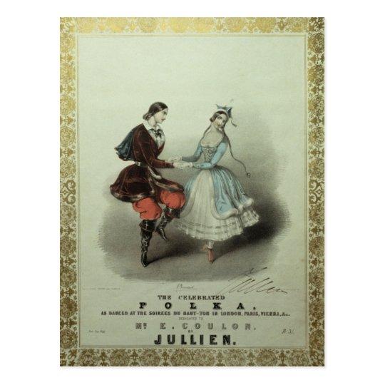 Postal La polca celebrada, hoja de la canción, 1840