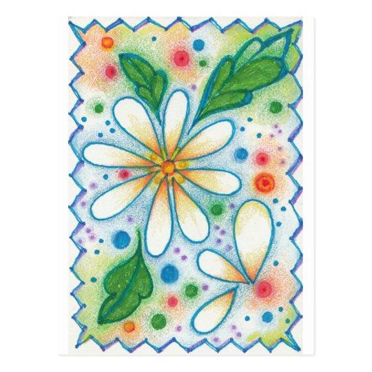Postal La primavera florece la margarita psicodélica