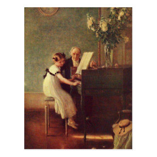Postal La primera lección de piano por Muenier