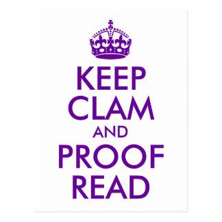 Postal La púrpura mantiene la almeja y la prueba leídas