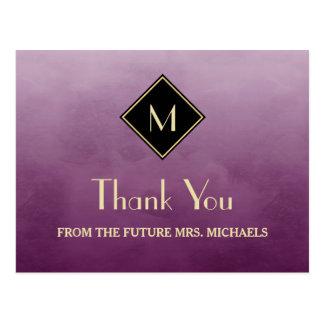 Postal La púrpura simple elegante con el monograma del