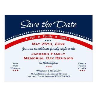 Postal La reunión de familia del Memorial Day, fiesta,