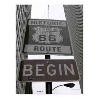 Postal La ruta oficial 66 comienza la muestra
