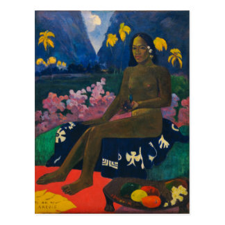 Postal La semilla del Areoi por Gauguin