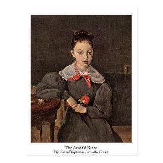 Postal La sobrina de los artistas de Jean-Baptiste Camilo