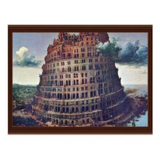Postal La torre de Babel. Por Pieter Bruegel