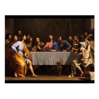 Postal La última cena con los discípulos