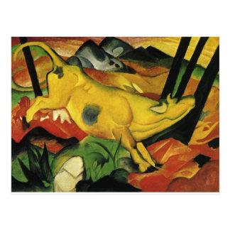 Postal La vaca amarilla de Franz Marc